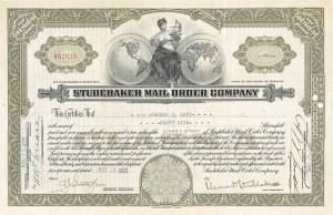 Clement Studebaker III - Studebaker Mail Order Co - Stock Certificate - SOLD