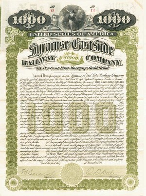 Syracuse and East Side Railway Company - $1,000 - Bond