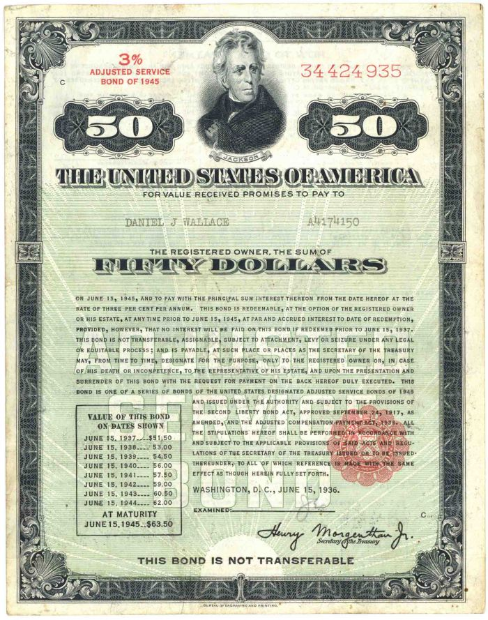 U.S. Treasury Bond - $50 3% Adjusted Service Bond of 1945 - Very Scarce