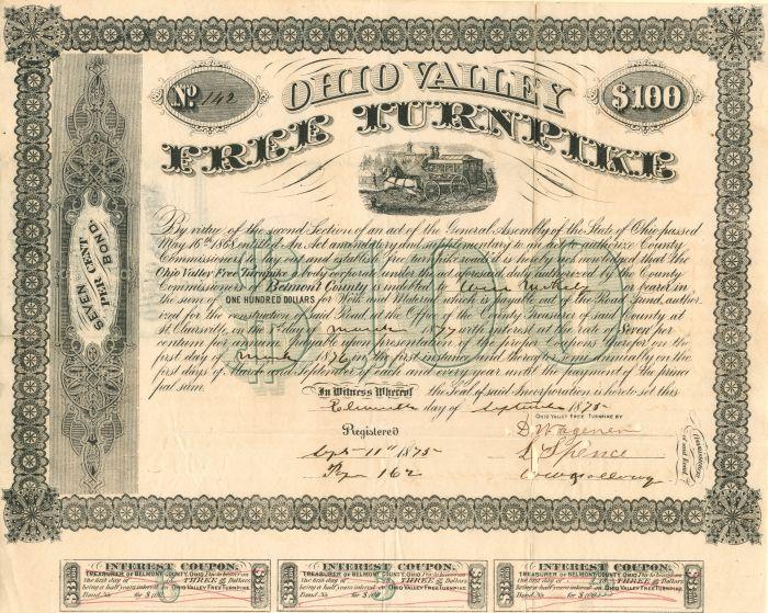 Ohio Valley Free Turnpike Company - $50 or $100 Bond