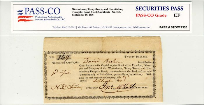 Westminster, Taney-Town, and Emmitsburg Turnpike Road - Stock Certificate