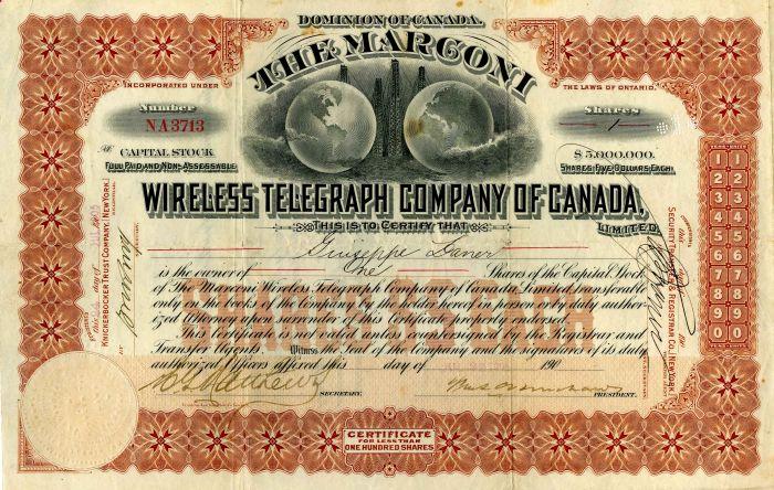 Marconi Wireless Telegraph Company of Canada - Stock Certificate