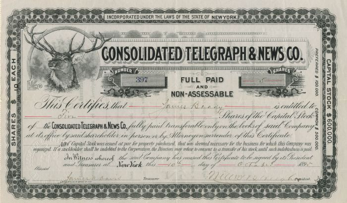 Consolidated Telegraph and News Co. - Stock Certificate