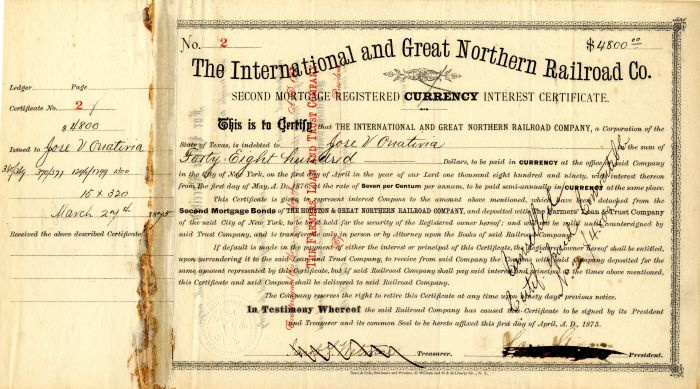International and Great Northern Railroad Co. - $4,800
