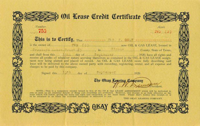 Okay Leasing Company Certificate