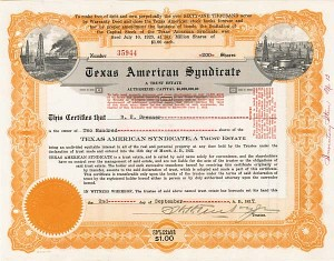 Texas American Syndicate - Stock Certificate