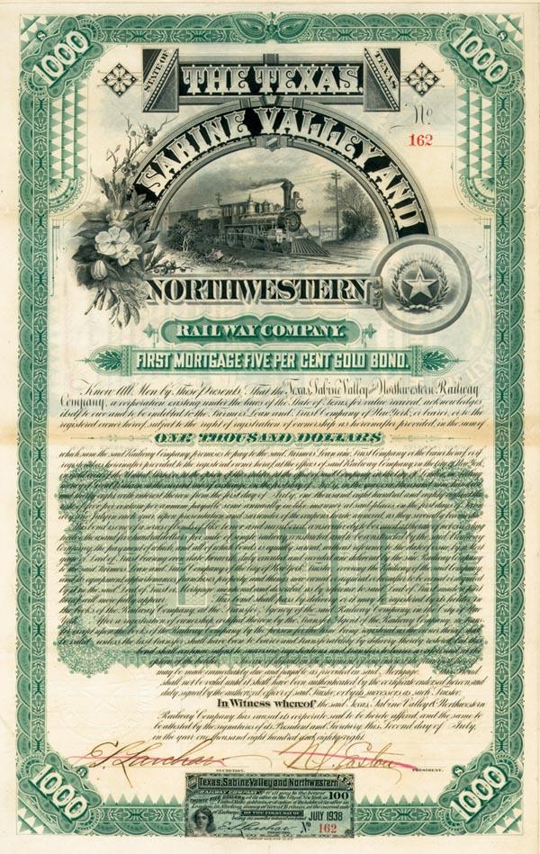 Texas Sabine Valley & Northwestern Railway - $1,000 Bond