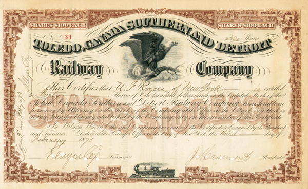 J. S. Casement - Toledo, Canada Southern and Detroit Railway Company - Stock Certificate