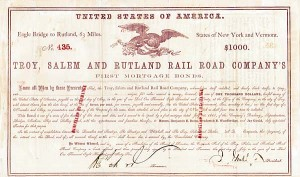 Troy, Salem, and Rutland Railroad $1,000 Mortgage Bond signed twice by Jay Gould