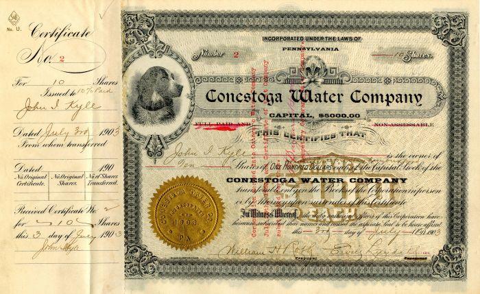 Conestoga Water Company - Stock Certificate