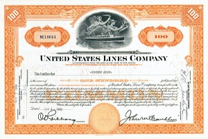 William Vincent Astor - United States Lines Co - Stock Certificate