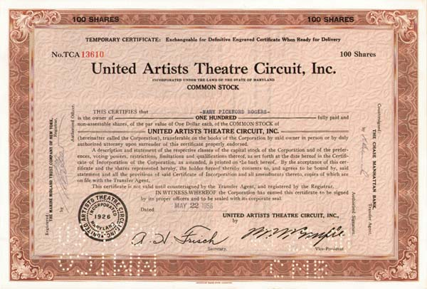 Mary Pickford - United Artists Theatre Circuit - Stock Certificate
