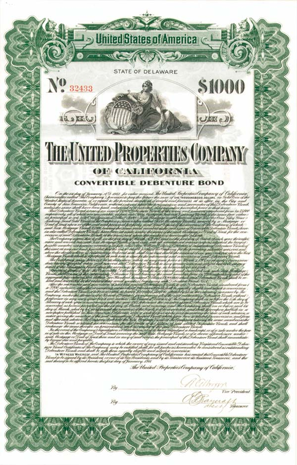 United Properties Co of California - Bond