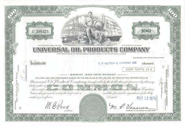 Universal Oil Products, Inc - Stock Certificate