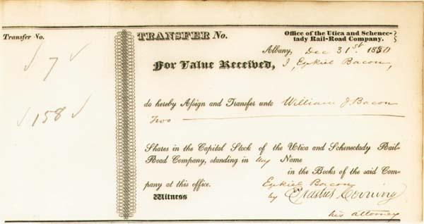 Erastus Corning - Utica and Schenectady Railroad - Stock Certificate