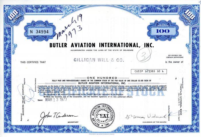 Butler Aviation International, Inc. - Stock Certificate