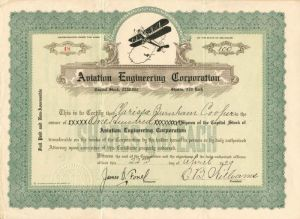 Aviation Engineering Corporation - Stock Certificate