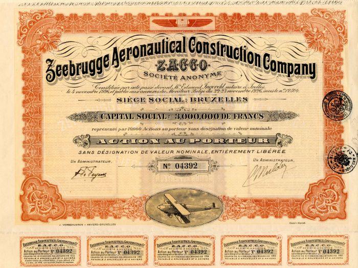 Zeebrugge Aeronautical Construction Company - Stock Certificate
