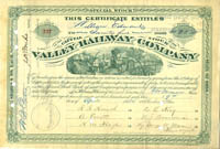 Valley Railway Company- H.M. Flagler Secretarial; Jeptha H Wade Signed