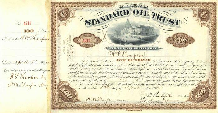 J. D. Rockefeller/H. Flagler signed Standard Oil Trust - Stock Certificate