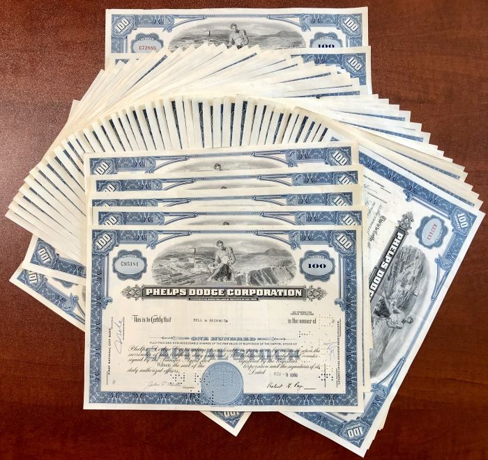 Fifty Phelps Dodge Corporation Stock Certificates - 50 Pieces!