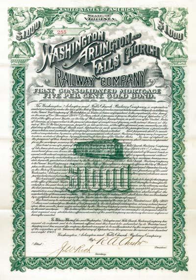 Washington, Arlington and Falls Church Railway - Bond