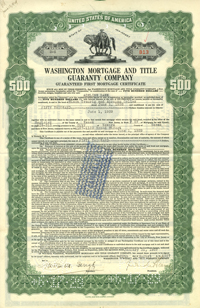 Washington Mortgage and Title Guaranteed Company $500 Bond
