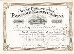 West Philadelphia Passenger Railway Company signed by  George D. Widener - Stock Certificate
