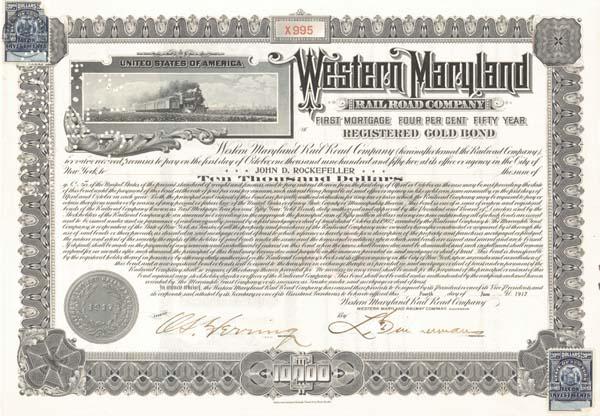 John D. Rockefeller - Western Maryland Railroad - Bond