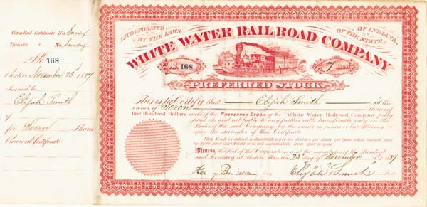 White Water Railroad Stock issued to/signed twice by Elijah Smith
