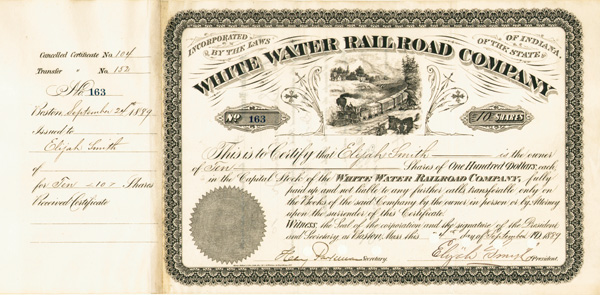 White Water Railroad issued to and signed by Elijah Smith twice - Only 1 Left! - Stock Certificate