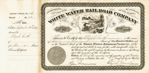 White Water Railroad issued to and signed by Elijah Smith twice - Only 1 Left!