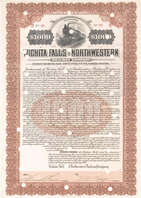 Wichita Falls & Northwestern Railway - Bond