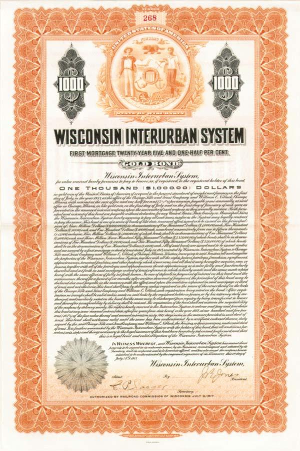 Wisconsin Interurban System - $1,000 Bond (Uncanceled)