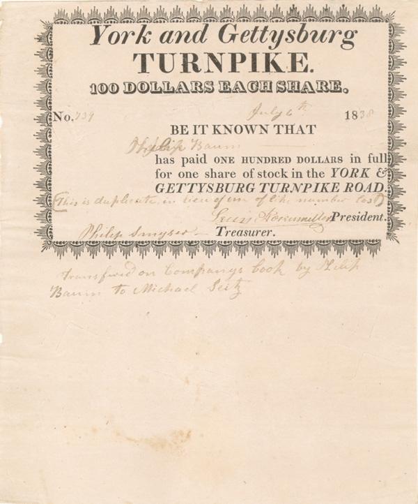 York and Gettysburg Turnpike - Stock Certificate