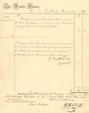 Zachary Taylor signed document - SOLD