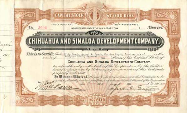 Chihuahua and Sinaloa Development Company signed by August Busch