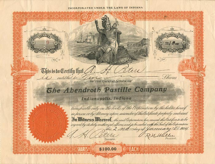 Abendroth Pastille Company Issued to and Signed by A.H. Peters
