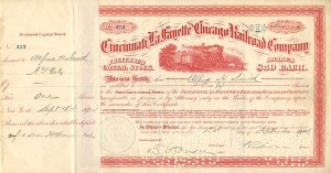 Cincinnati, LaFayette and Chicago Railroad Company signed by Alfred H. Smith
