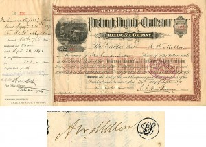 Pittsburgh, Virginia and Charleston Railway Company signed by A.W. Mellon