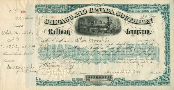 Augustus Schell signed Chicago and Canada Southern Railway Company