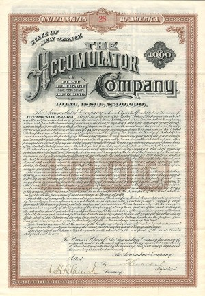 Accumulator Company Bond signed by Theodore Newton Vail - Available in Blue and Brown