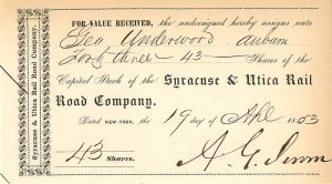 Syracuse & Utica Rail Road Company signed by Addison G. Jerome
