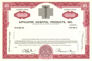 Affiliated Hospital Products, Inc - Stock Certificate