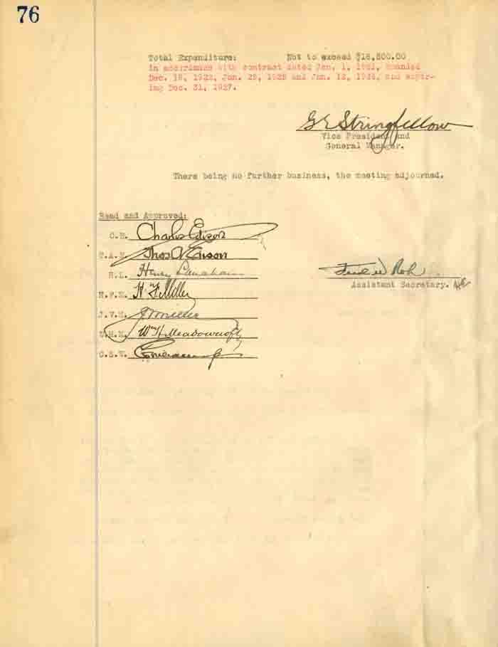 Thomas A. Edison, Charles A. Edison - Meetings of Meeting