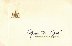 Card signed by Spiro T. Agnew
