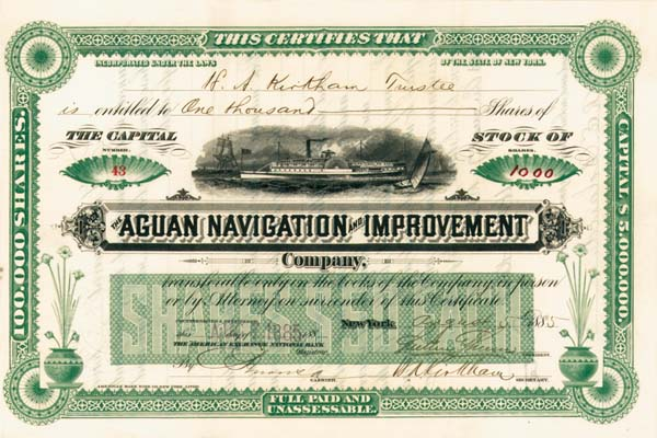 Aguan Navigation and Improvement Company - Stock Certificate