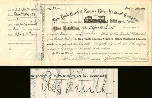 Alfred H. Smith signed New York Central Niagara River Railroad Company
