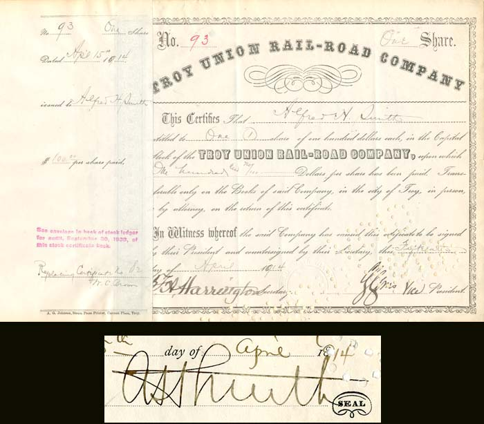 Alfred H. Smith signed Troy Union Rail-Road Company