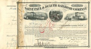 Saint Paul & Duluth Railroad Company signed by Anthony J. Drexel